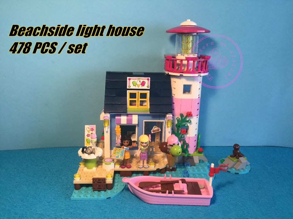 10540 Friends Emma's Friends Heartlake Light house girls model building Blocks Bricks Toys Girl compatiable 41094 kid gift игрушка lego friends 41094 маяк