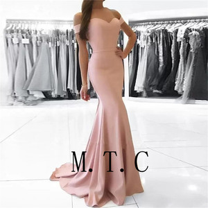 Image 3 - Женское атласное платье подружки невесты, элегантное розовое платье с открытыми плечами, дешевое эластичное платье подружки невесты, 2019