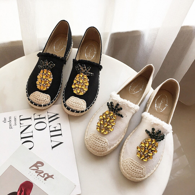 2019 New Women Espadrilles Flats Crystal Pineapple Hemp Fisherman Shoes Ladies Fashion Rhinestone Loafers Slip On Single Shoes S