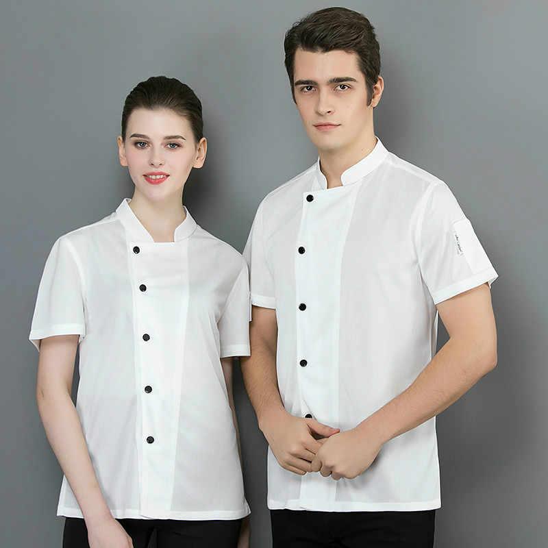 シェフ制服夏半袖通気性メッシュユニセックスシェフシャツ男性女性シェフジャケットキッチン寿司制服作業服