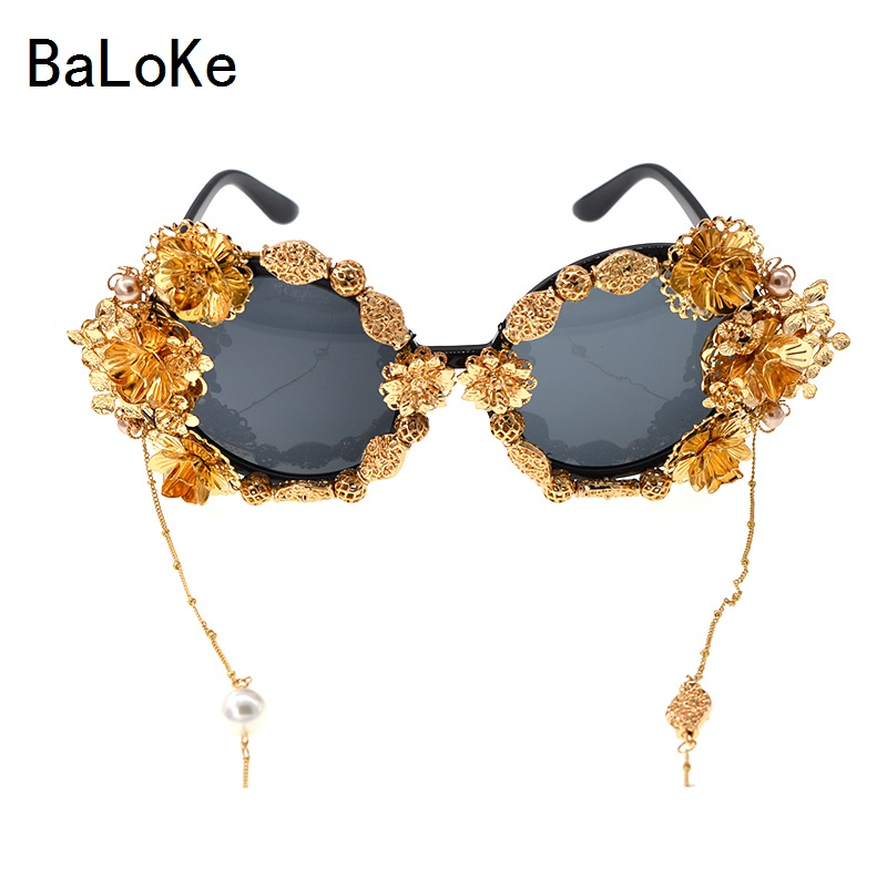 a8d0e0d56b8 New Fashion Design Baroque Luxury Retro Handmade Metal Butterfly Flowers Pearl  Eyewear Women Vintage Style Tassel