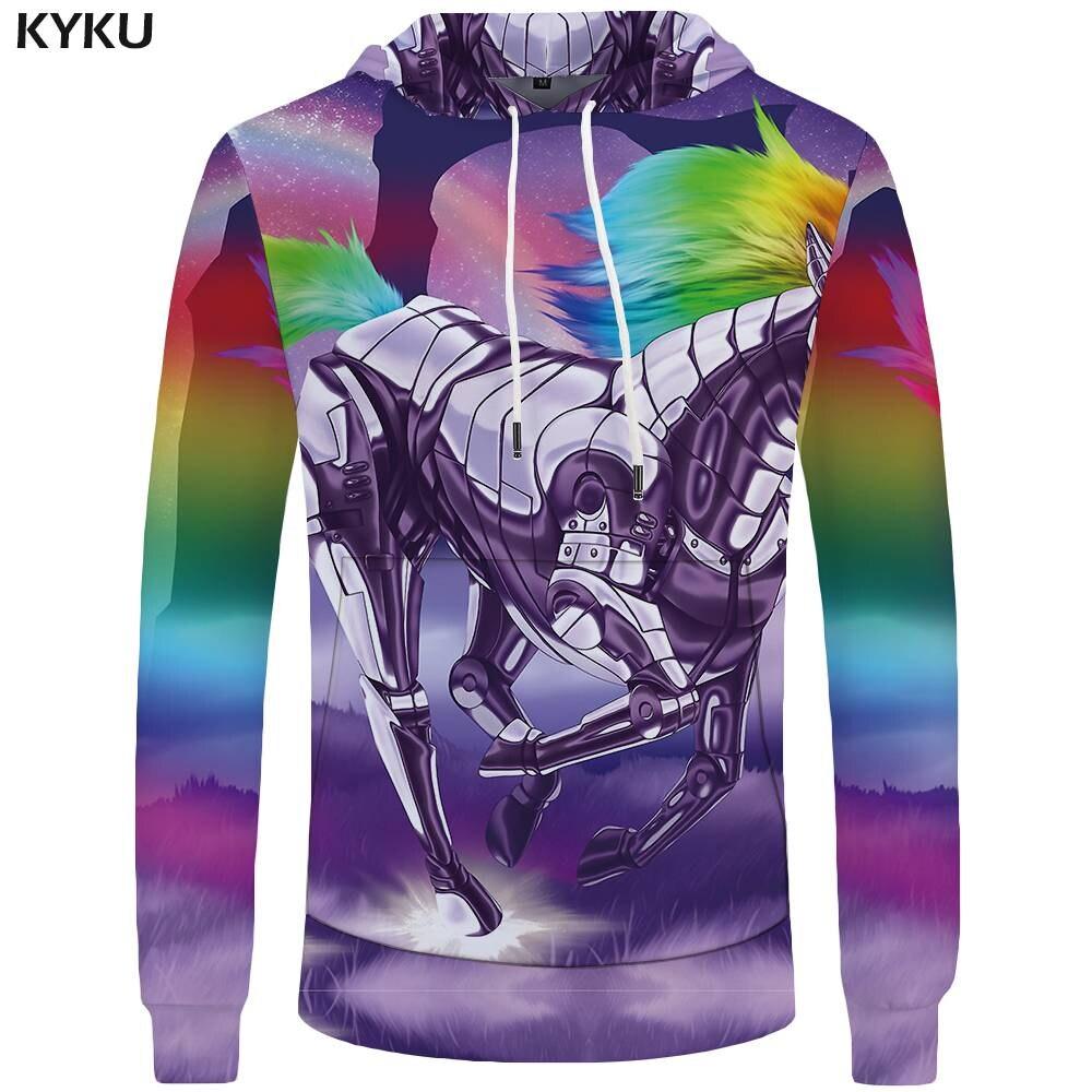 KYKU Brand Unicorn Hoodies Men Rainbow 3d Hoodies Sky Mens Clothing Gothic Sweatshirts Big Size Sweatshirt Hoddie Tracksuit