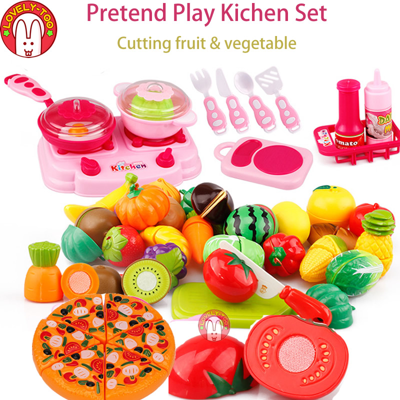 Lovely Too 31pcs Fruit Cutting Toys kids Kitchen Cooking Play Food Seeds Of Vegetables Pretend Tiny Toy For Girls