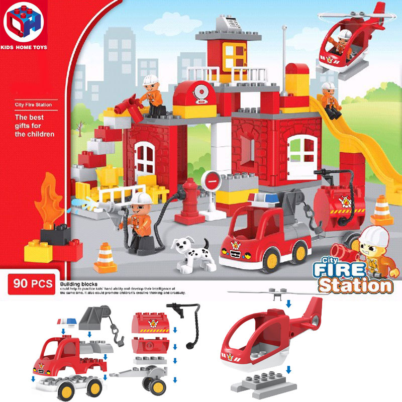 Kid's Home Toys City Fire Station Large Particles Building Block City Fireman Fire Engine Large Size Brick Toy Compatible Duplo kid s home toys large particles happy farm animals paradise model building blocks large size diy brick toy compatible with duplo