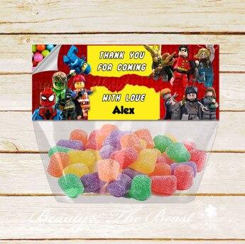 Abendessen Hero Lego Tasche Topper Lebensmittel Etiketten Danke