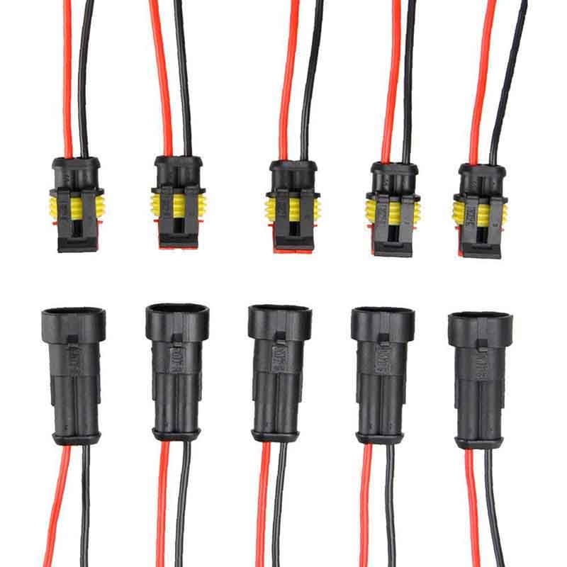 5 Pairs 2-Pin Way Electrical Connector Plug Waterproof Male Female Electrical Connector Plug with Wire For Motorcycle Car Boat