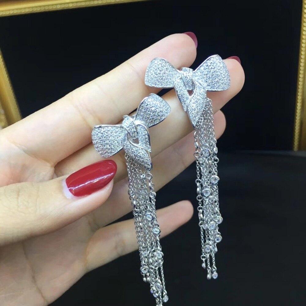 925 sterling silver with cubic zircon bowknot stud earring long tassels blingbling fashion women jewelry free
