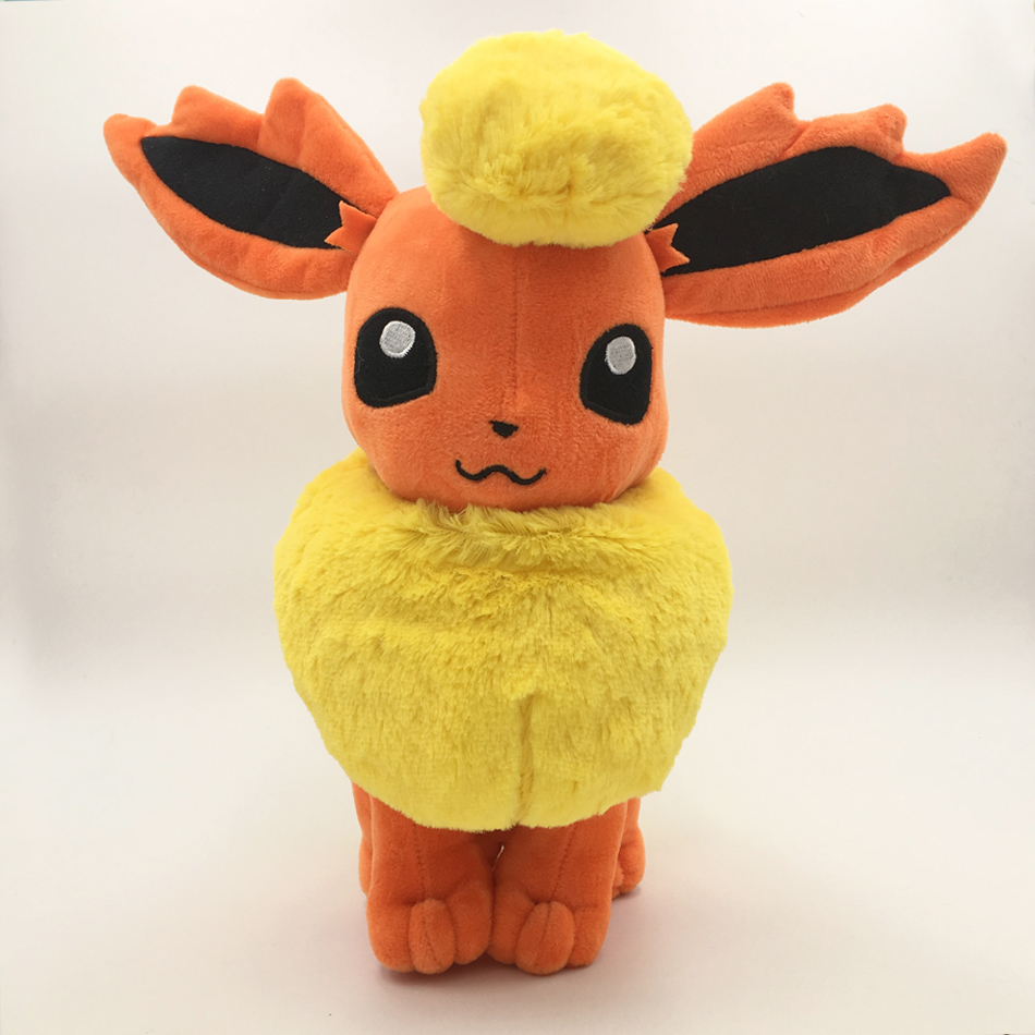 New Hot 34CM Big Size Pikachu Plush Toy Eevee Sit Flareon Flamara Soft Peluche Doll PP Cotton Free Shipping