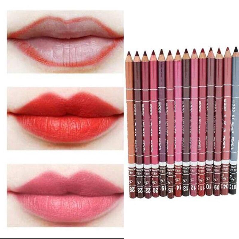 GAM-BELLE Waterproof Lip Liner Pencil 15CM 28 Colors Women's Professional Long Lasting Lip Liner Pencil 1pcs