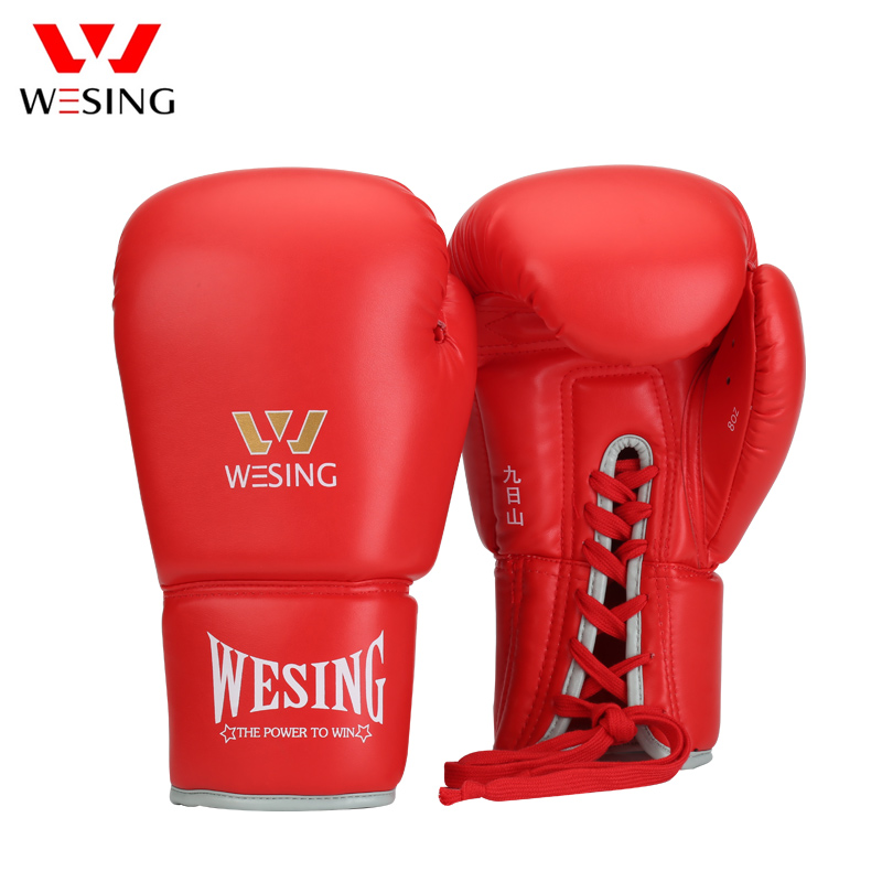 Wesing Boxing Gloves Pro Boxing Fight Muay Thai Sanda Gloves Tether Black Red Blue 8 10