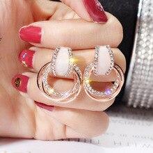 Luxury Zircon 925 Silver Pin Stud Earrings For Women 2019 Fashion Geometric Circle Simple Shining Crystal Jewelry Gift
