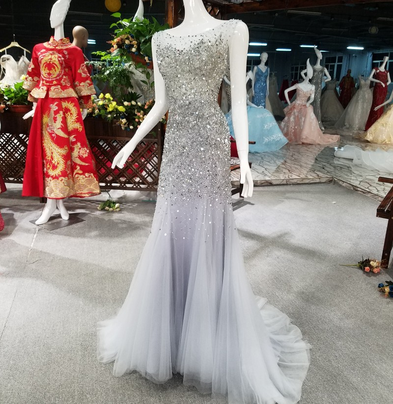 2018 Luxury Grey High neck Grey Mermaid   Evening     Dresses   Backless Beading Crystal Sparkly Gown Robe De Soiree
