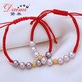 Alta qualidade Red pulseira 8 - 9 MM roxo água doce pérola Natural e 999 puro bola de ouro pulseira de bijuteria