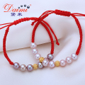 High Quality Red Bracelet 8-9 MM Purple Natural Freshwater Pearl & 999 Pure Gold Ball Bracelet Bijouterie