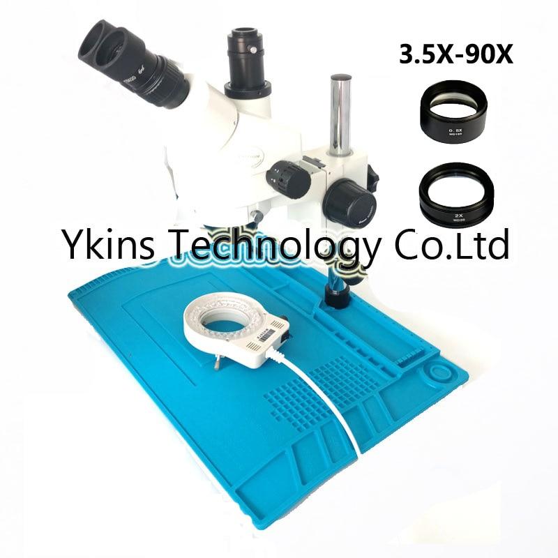 Trinoculare Microscopio Lente di Ingrandimento 7X-45X o 3.5X-90X Continuo Visione Binoculare + 56LED Anello di Luce + Staffa di Metallo Kit
