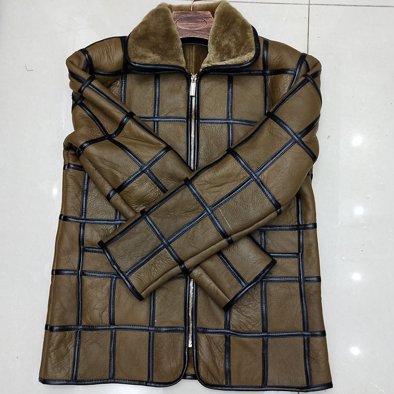 Winter warm men s fur one sheep shearing leather plaid outdoor cotton coat leather jacket thick Winter warm men's fur one sheep shearing leather plaid outdoor cotton coat leather jacket thick warm skin