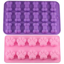 Mujiang Puppy Dog Paw and Bone Ice Trays Silicone Pet Treat Molds Soap Chocolate Jelly Candy Mold Cake Decorating Baking Moulds