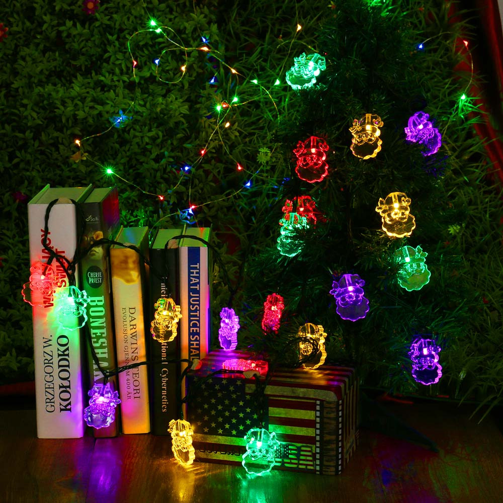 30 LEDs Santa Claus Solar String Lights Rechargeable Waterproof Crystal Solar Light for Outdoor Christmas Home Decoration
