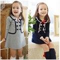 2016 otoño nueva llegada de la muchacha del algodón ropa coreana collar de la muñeca de manga larga casual niñas una línea mini vestido de ropa para niños
