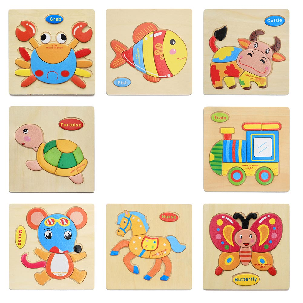 1 Pc Kids 3D Baby Wooden Toys Wooden Cartoon Animal Traffic Puzzles Toys for Children Educational