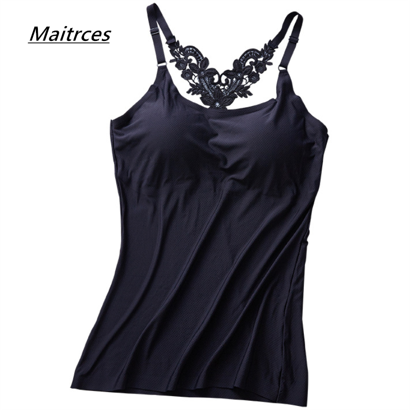 2019 Camis Summer Sexy embroidered Backless Women   Tank     Tops   Sexy Slim Lady Built In Bra Self Mold Bra   Tops   Strap Camisole TX060