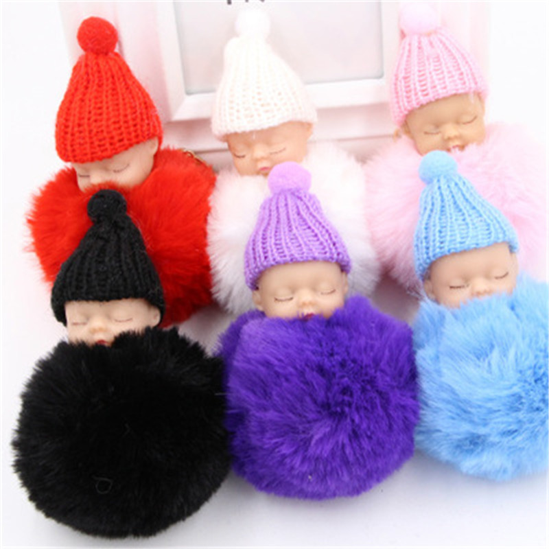 iMucci Sleeping Baby Doll Keychain Pompom Rabbit Fur Ball Keyring Cute Baby Toy Chain Gift For Women Girl Key Holder Bag Jewelry