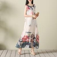 Floral Print Summer Dress 2017 Casual O Neck Sleeveless Long Maxi Chiffon Dress Elegant Beach Women