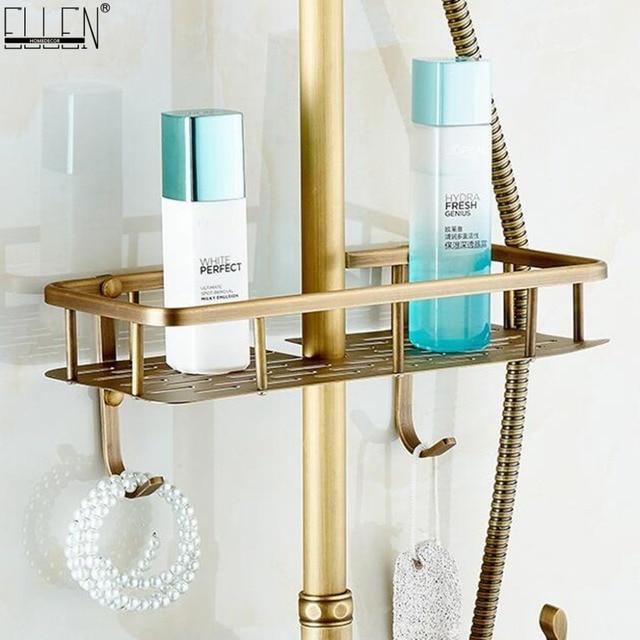 Bath Rain Shower Shelf Bath Storage Shelves Antique Bronze Finished Copper Shelf With Hooks