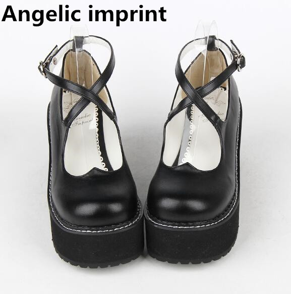 Angelic imprint new woman mori girl lolita cosplay shoes lady high wedges heels pumps women princess