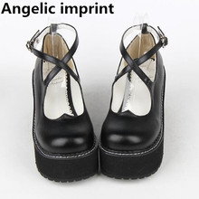 Heels Pumps Cosplay-Shoes Angelic Imprint Lolita Women Mori Girl Princess-Dress High-Wedges