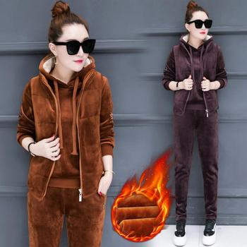 Keep Warm Autumn Winter Casual Trousers Suit Sport Cloth Tracksuit Thicken Women Hoodie Hooded Women Ensemble Femme 3 Piece Set