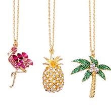f257c6d8eed2 Envío libre 6 unids lote Chic oro full metal rhinestone Flamingo piña Akee  palm tree