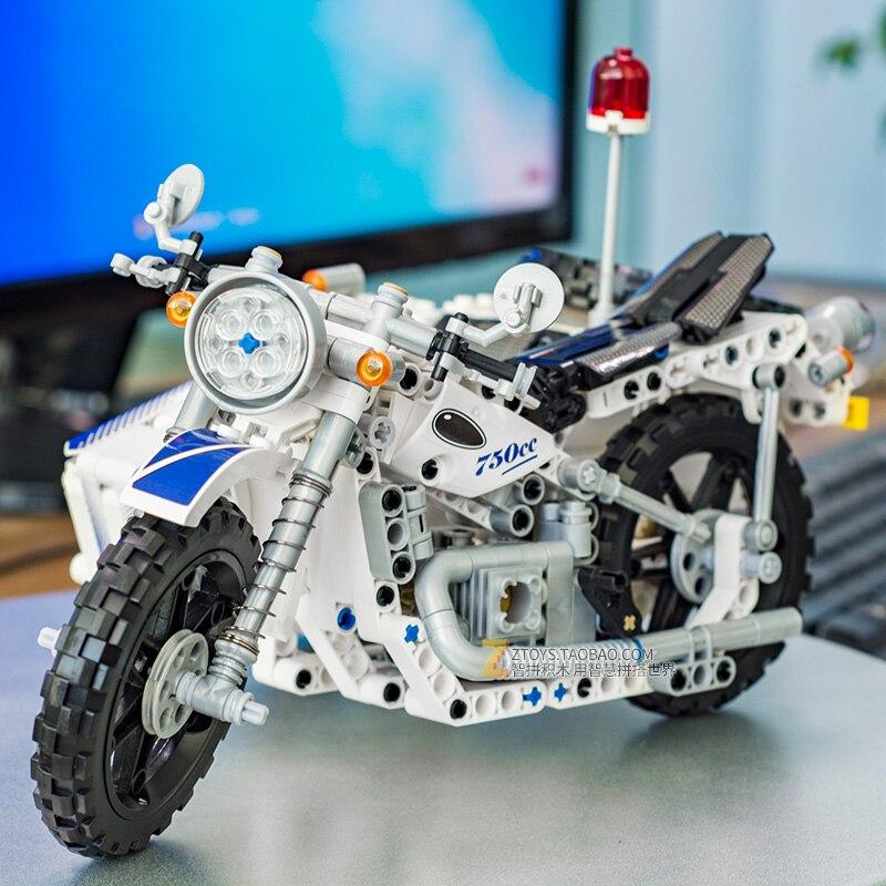 550Pcs Technic Motorfiets Politie Bouwstenen Blokken Zijspan Motorcross Model Gift Compatibel Technic Auto Speelgoed-in Blokken van Speelgoed & Hobbies op  Groep 3