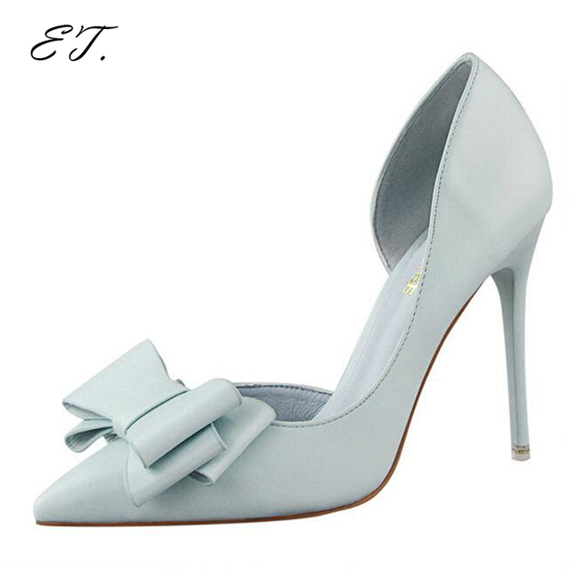 Moda coreano delicado doce bowknot sapatos finos sapatos de salto alto-sapatos de salto alto oco lado apontou boca rasa mulheres bombas