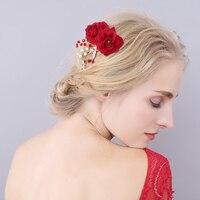 อุปกรณ์ผมจัดงานแต่งงานคลิปโรแมนติกคริสตัลเพิร์ลสีแดงดอกไม้กิ๊บR Hinestone T Iara