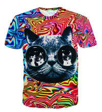 Cute glasses cat 3D t shirt psychedelic striped tees tops harajuku tshirt males ladies summer time type style 3d t-shirt S-5XL R2421