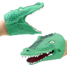 Green Soft Vinyl TPR Crocodile Hand Puppet Animal Head Hand Puppets Kids Toys Gift Figure Vividly Kids Toy(China)