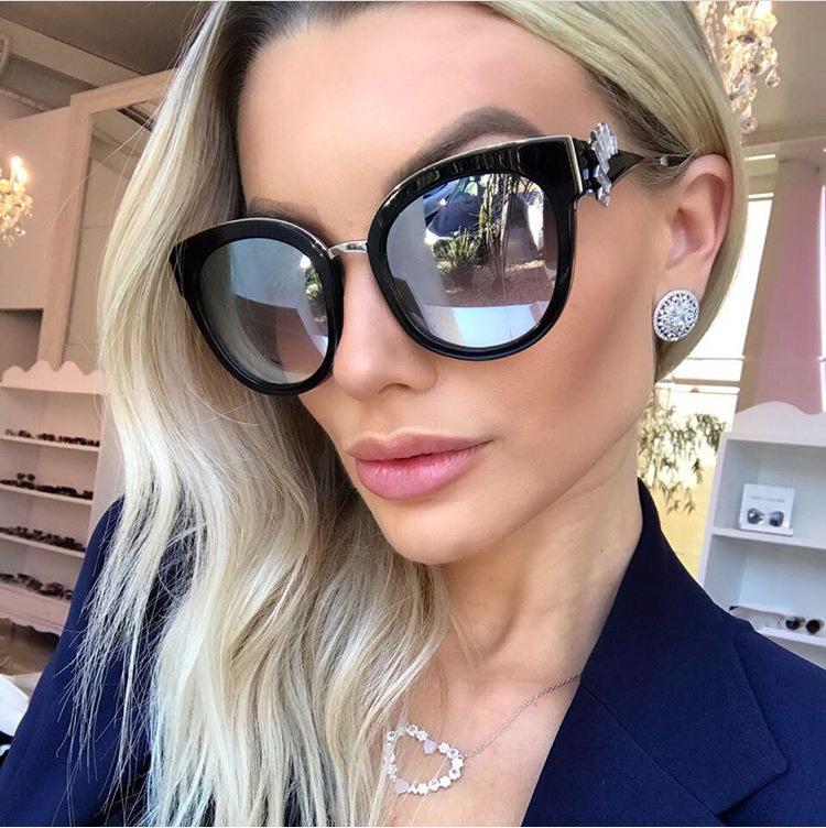 HTB1sxqmguEJL1JjSZFGq6y6OXXas - Oversized Crystal Acetate Black Cat Eye Sunglasses 2018