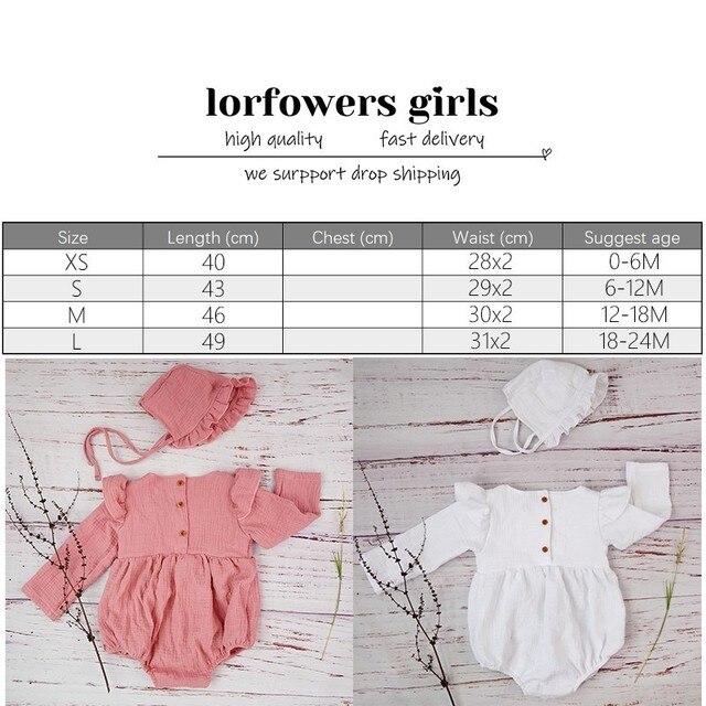 الخريف طفلة الملابس قميص قطني بكم طويل رومبير ل مولود جديد الشتاء البوتيكات الكتان Playsuit صور الدعائم الرضع الزي 3