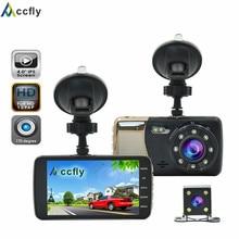 Accfly 4.0 pulgadas DVR coche Dvr grabador de cámara dash cam vídeo registrator Doble lente Full HD 1296 P del IPS de la Pantalla 170 grado
