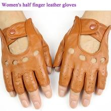 Женские кожаные перчатки на полпальца, модные, с полыми пуговицами, стильные, весна-лето, тонкие, из овчины, спортивные перчатки для верховой езды