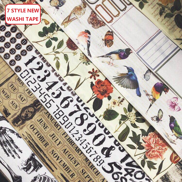 10Style Number/Letter/Skeleton/Birds/Flowers/Month Japanese Decorative Adhesive DIY Masking Paper Washi Tape Label Stickers Gift