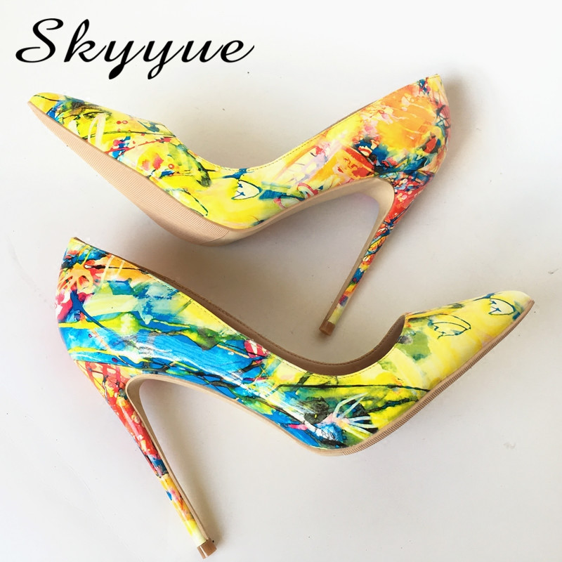 2018 New Printed Leather Pointed Toe Women 12cm HIgh Heels Sexy Slip On Women Summer Pumps Shoes Women size 43 44 Wedding Shoes sequined high heel stilettos wedding bridal pumps shoes womens pointed toe 12cm high heel slip on sequins wedding shoes pumps