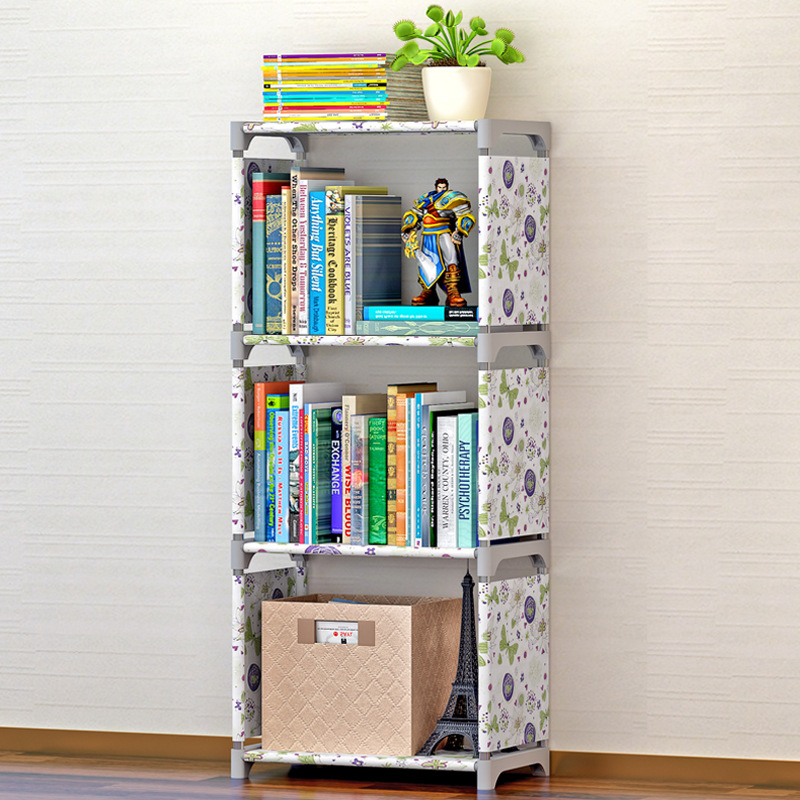 Modern fashion simple home decoration non-woven stainless steel removable furniture four-layer assembly multi-functional shelves