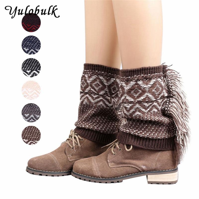 New Women Tassel Adult Leg Warmers Bohemia Winter Boot Socks Gaiters Knit Boot Cuffs Topper Boot Cover Calentadores Piernas