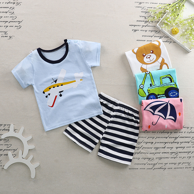 64a15137828 Baby Boy Girl Clothes Summer 2018 Newborn Baby Boys Clothes Set Cotton Baby  Clothing Suit Shirt+Pants Infant Clothes Set