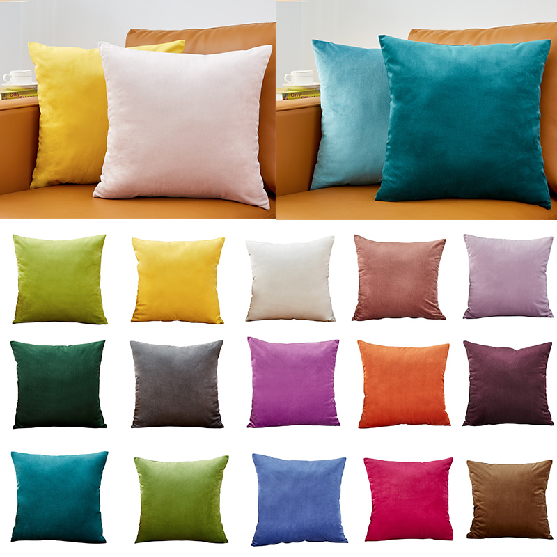 Pillow Cover Velvet Pillow Case 40x40cm For Living Room Sofa Decorative Pillows Home Decor Housse De Coussin Yellow Green Blue