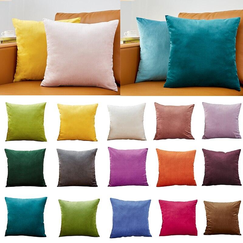 Taie d'oreiller velours taie d'oreiller 40x40cm pour salon canapé oreillers décoratifs décor maison Housse De Coussin jaune vert bleu