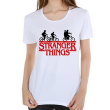Фотография New Arrival Stranger Things Summer Women T-shirt Short Sleeve TShirts White Funny T Shirts for lady Tee Top brand clothing D9-3#