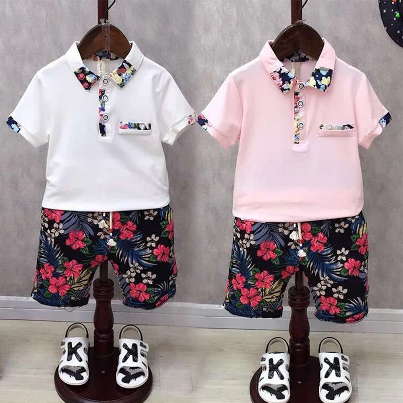 2017 Lovely baby boys cotton polo t shirt flower trousers set fashion summer kids casual clothing boy sport outwear 17J701 in Clothing Sets from Mother Kids